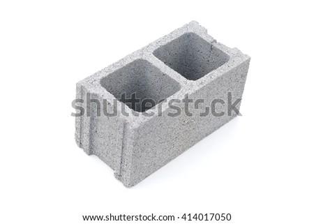 Gray concrete construction block isolated on white - stock photo