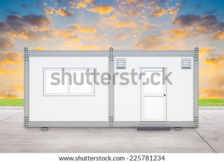 Gray container with sky background. - stock photo