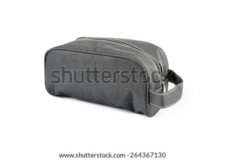 Gray Cosmetics bag isolated on white background - stock photo