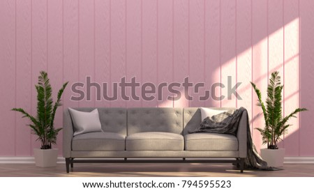 Gray Couch Pink Room Vintage Style Stock Illustration 794595523 ...