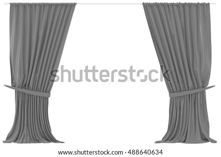 gray curtains isolated on white background include clipping path 3d render