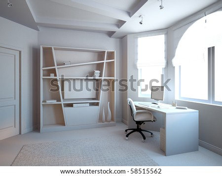 gray 3d interior bedroom in new flat