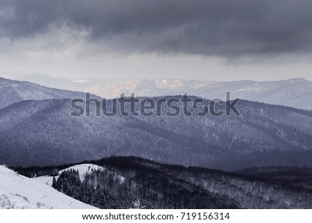 Gray dramtic clouds over the Bieszczady moutains summit