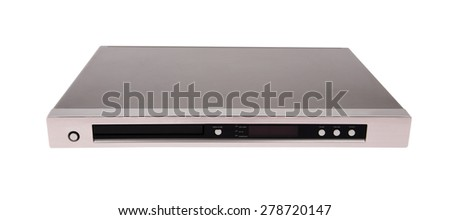 Gray dvd player isolated on white background