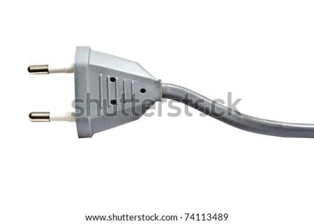 Gray electric plug isolated on white background - stock photo