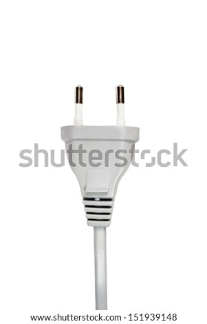 Gray electrical plug isolated on white background