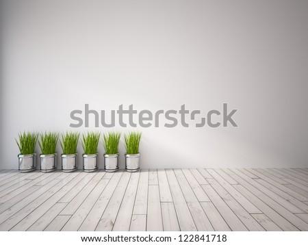 gray empty interior with grass - stock photo