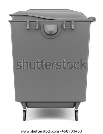 gray garbage container isolated on white background. 3d illustration