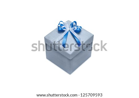 Gray gift box with white ribbon and blue. Isolated on white.