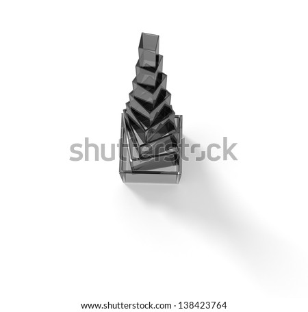 Gray glass pyramid with shadow - stock photo