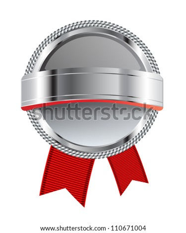 Gray glossy glass round badge / banner with metallic decoration and red ribbons - raster version - stock photo