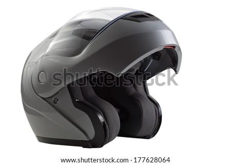 Gray, glossy motorcycle helmet - stock photo