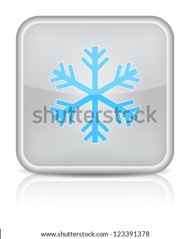 Gray glossy web button with sign snowflake symbol. Rounded square shape on white background. 10 EPS (Raster version) - stock photo