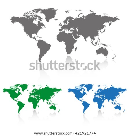 Gray, green and blue world map with shadow.  Set of the world map