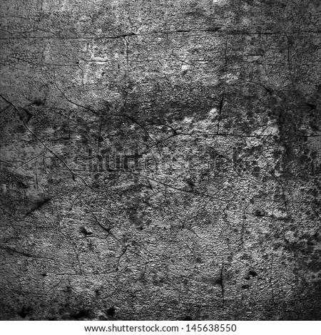 gray grunge wall with cracks - stock photo