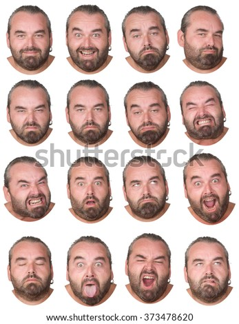 gray hair and beard fat caucasian man collection set of face expression like happy, sad, angry, surprise, yawn isolated on white - stock photo