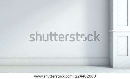 gray interior in classic style. 3D illustration - stock photo