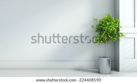 gray interior in classic style with plant. 3D illustration - stock photo