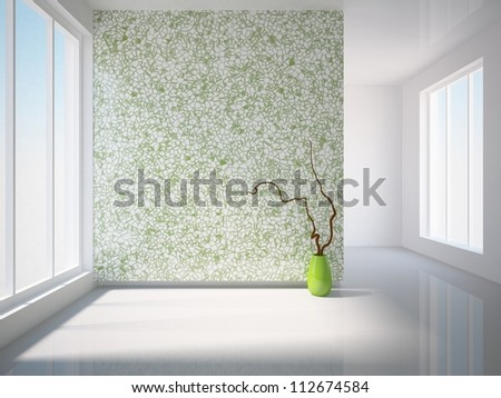 gray interior with green wall and green vase - stock photo