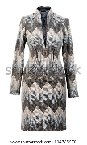 gray jacket and skirt isolated on white - stock photo
