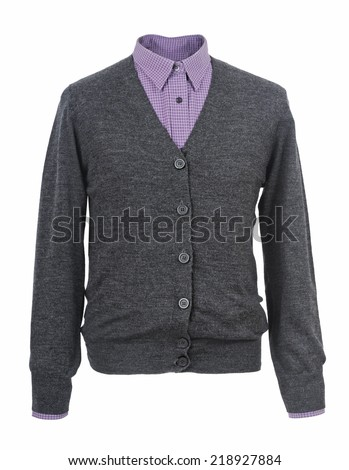 gray jacket isolated on white background - stock photo