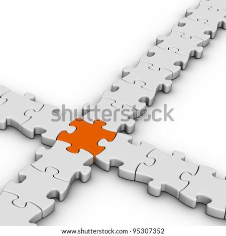 gray jigsaw puzzles with one orange piece - stock photo
