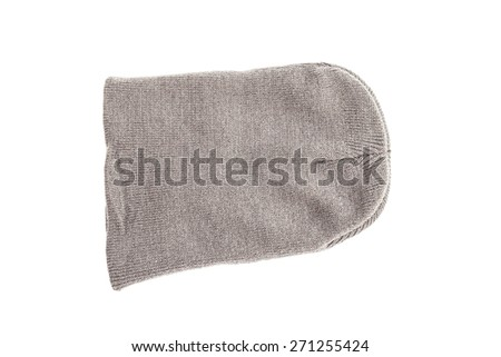 Gray knitted hat isolated on white background. - stock photo