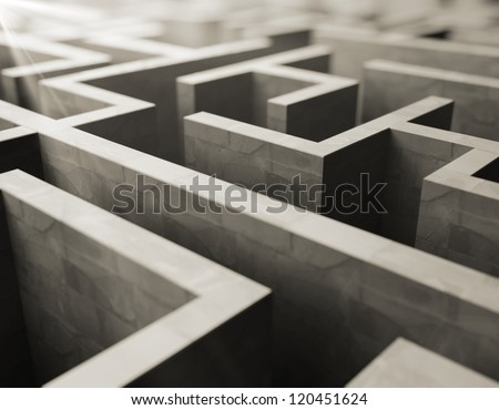 gray labyrinth, complex problem solving concept - stock photo