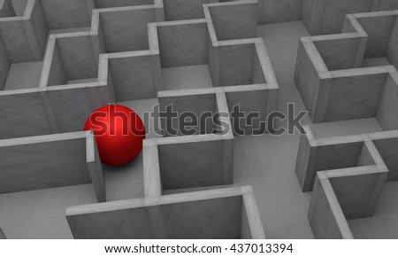 gray labyrinth, complex problem solving concept,3d rendering - stock photo