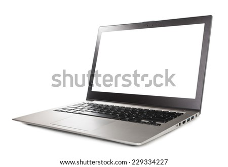 gray laptop isolated on white