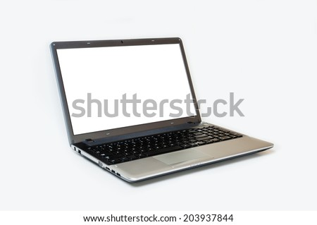 Gray laptop isolated on white background, white blank screen - stock photo