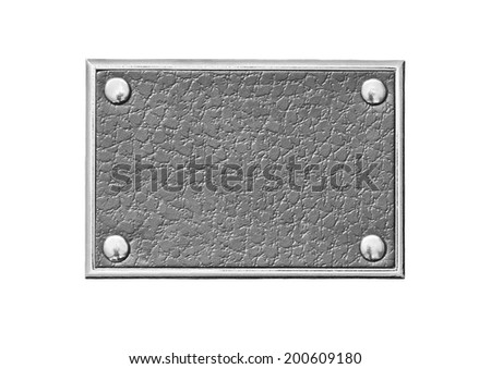 Gray leather tag in a metal frame - stock photo