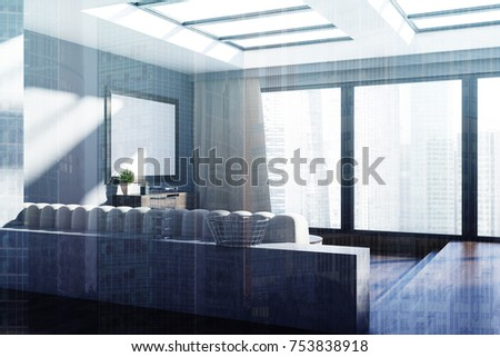 Gray living room corner with a beige sofa, a panoramic window with a cityscape and a framed horizontal poster on the wall. 3d rendering mock up double exposure toned image