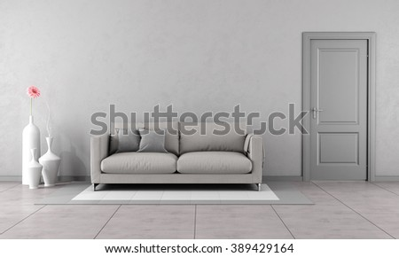 Gray living room with modern couch and closed door-3D Rendering - stock photo