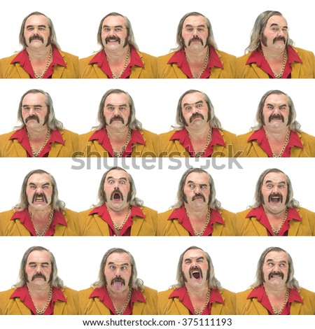 gray long hair and mustache vintage 70s caucasian dancer man collection set of face expression like happy, sad, angry, surprise, yawn isolated on white