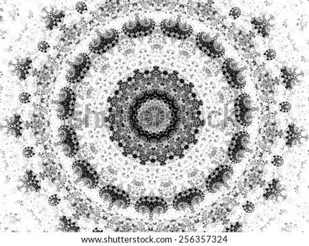 gray mandala fractal ornament design - stock photo