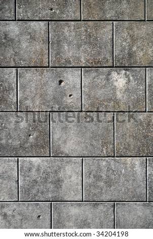 Gray marble wall, brickwork - stock photo