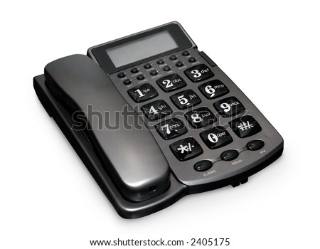 Gray modern telephone isolated with clipping path on white background