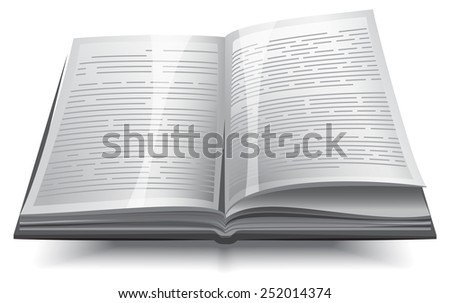 Gray opened book with text - stock photo