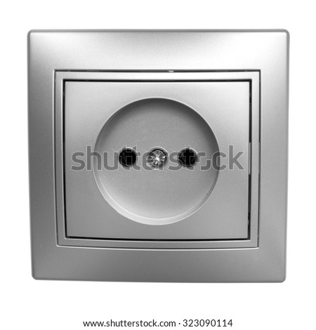 Gray outlet isolated on white background - stock photo