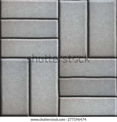 Gray Pave Slabs Rectangles Arranged Perpendicular to Each other Two or Three Pieces. Seamless Tileable Texture. - stock photo