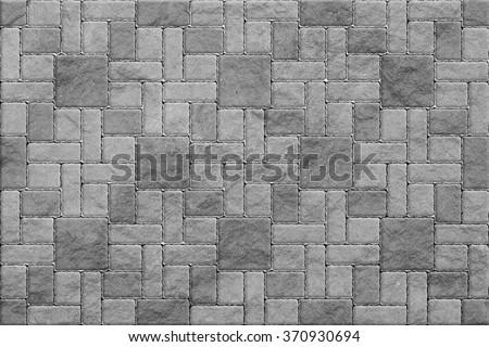 Gray Pavement , Rectangular and Big and Small - stock photo