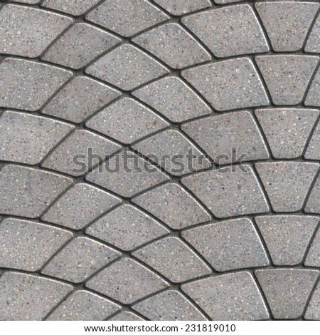 Gray Paving Slabs Laid as Semicircle. Seamless Tileable Texture. - stock photo
