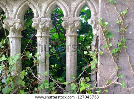 gray pillars and green ivy in a old italian garden - stock photo