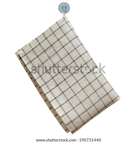 Gray plaid linen towel hanging on a hook isolated on white background - stock photo