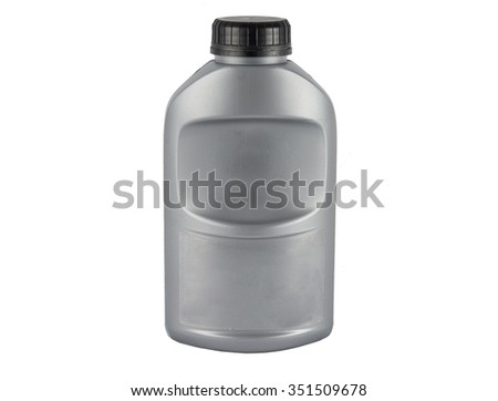 Gray plastic canister for motor oil isolated on white background - stock photo