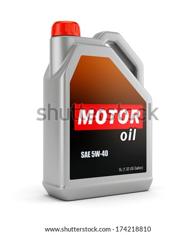 Gray plastic canister of motor oil isolated on white background - stock photo