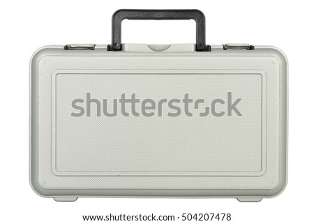 gray plastic toolbox isolated on white