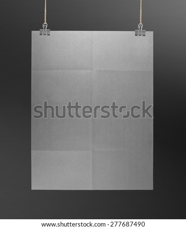 Gray poster on a rope - stock photo