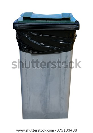 Gray recycling bin isolated on a white background. - stock photo